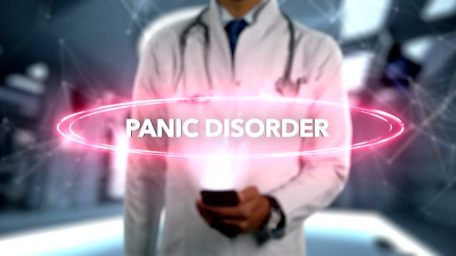 Panic-disorder---Male-Doctor-With-Mobile-Phone-Opens-and-Touches-Hologram-Illness-Word