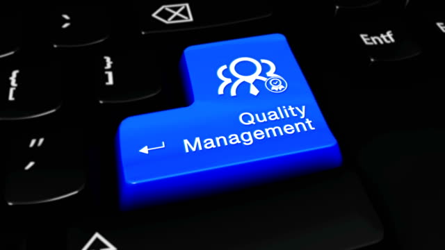 Quality-Management-Moving-Motion-On-Blue-Enter-Button-On-Modern-Computer-Keyboard-with-Text-and-icon-Labeled-Selected-Focus-Key-is-Pressing-Animation-Business-Management-Concept