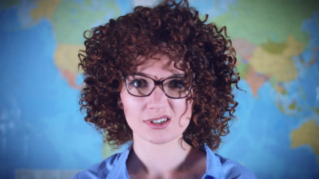 4K-Teacher-or-Student-Woman-with-Curly-Hair-Acting-Crazy-and-Funny