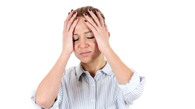 Woman-Upset-by-Loss-White-Background