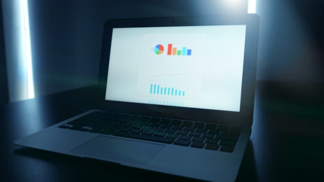 Laptop-with-Business-Chart-and-Statistics-on-the-Screen-Start-Up-Enterprise-Work-Growth-Financial-Industry-Success