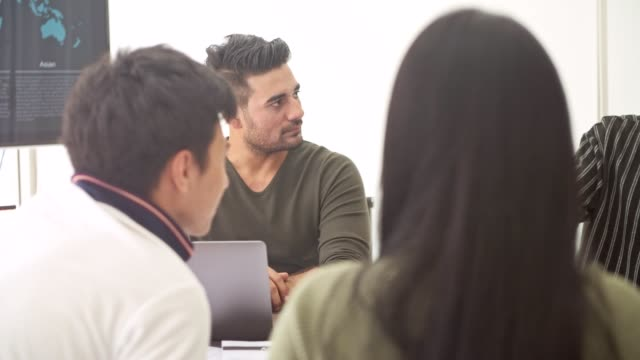 Business-meeting-Small-start-up-business-meeting-in-room-Asian-team-with-indian-man-brainstorming-the-next-big-idea-New-business-model-start-up-concepts-