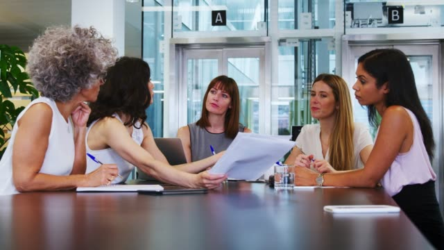 Female-coworkers-discuss-strategy-at-a-business-meeting