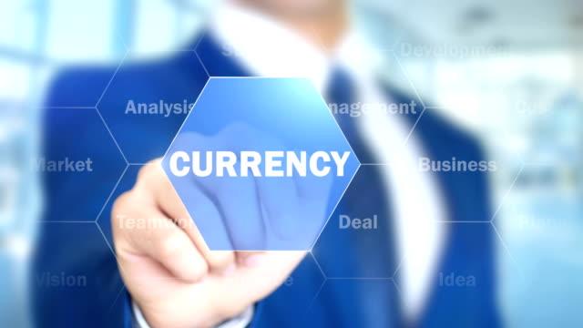 Währung-Geschäftsmann-mit-Augmented-holographische-Schnittstelle