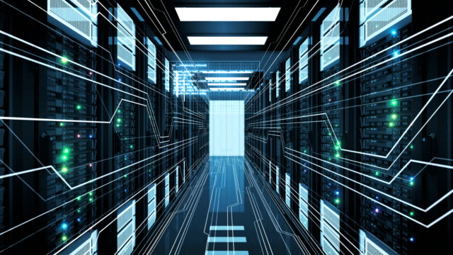 Beautiful-Rows-of-Server-Racks-in-Modern-Datacenter-Working-with-Graphics-Elements-Looped-3d-Animation-of-Busy-Mainframes-Digital-Media-and-Futuristic-Technology-Concept-