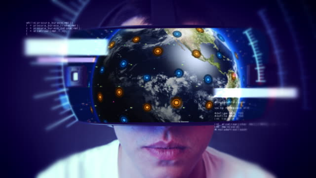 Hübscher-junger-Mann-VR-Kopfhörer-tragen-und-virtuellen-Realität-zu-erleben-