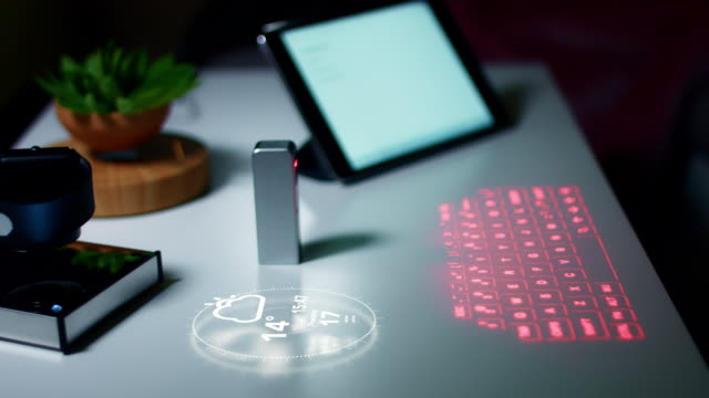 4K-Virtual-Laser-Projection-Keyboard-In-Office-with-Generated-Animation