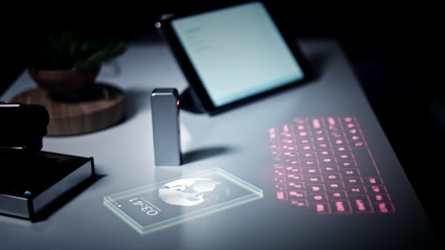 4K-Virtual-Laser-Projection-Keyboard-In-Office-with-Phone-Animation