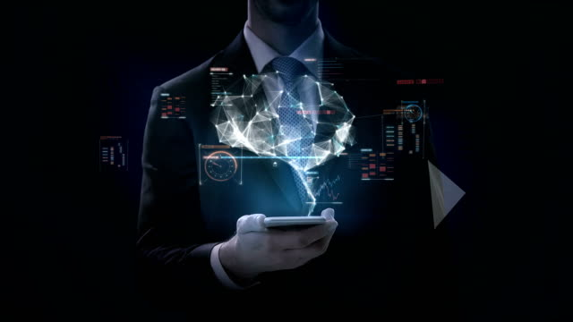 Businessman-click-smart-phone-Brain-connect-digital-lines-with-digital-interface-grow-artificial-intelligence-4k-movie-