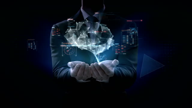 Businessman-opens-two-palms-Brain-connect-digital-lines-with-digital-interface-grow-artificial-intelligence-4k-movie-