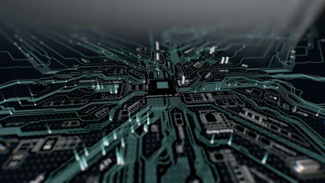 3D-Animation-der-abstrakten-Motherboard-Schaltung-Looping