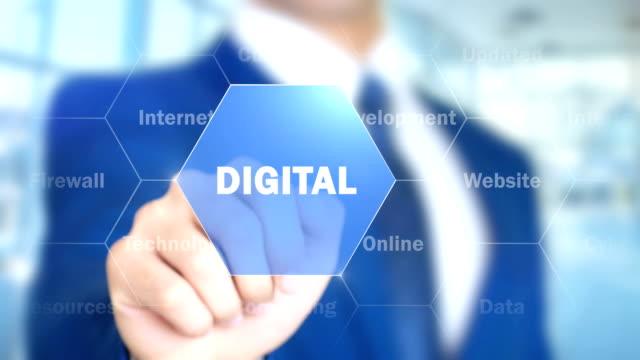 Digital-Mann-arbeitet-auf-holographische-Schnittstelle-Bildschirm
