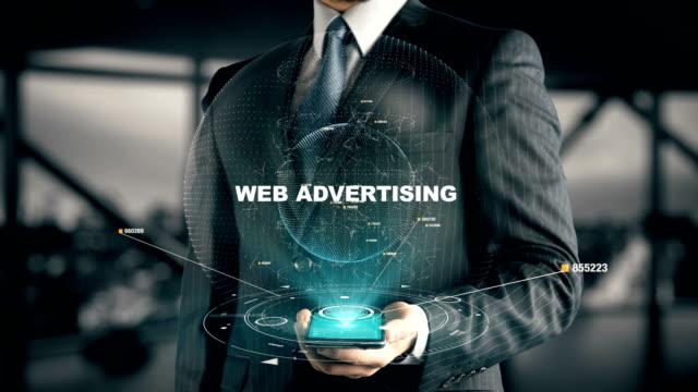 Geschäftsmann-mit-Web-Werbung-Hologramm-Konzept