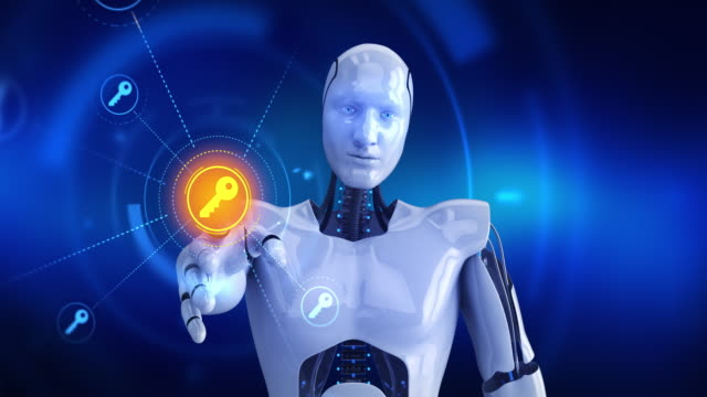 Humanoid-robot-touching-on-screen-then-key-symbols-appears