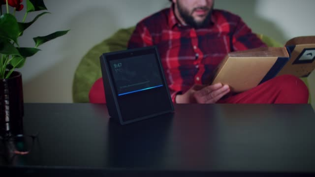 4k-Young-Man-Asking-Smart-Home-Device-to-Show-Near-Locations