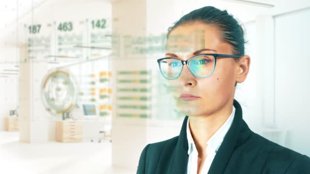 Business-woman-on-HUD-And-graph-bar-futuristic-concept-technology-element-on-light-background