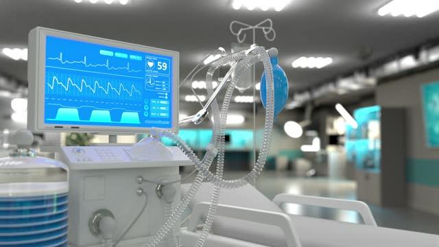 cg-animación-3D-médica-respirador-médico-de-la-UCI-en-la-clínica