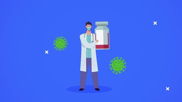 Arzt-mit-covid19-Partikeln-und-Impfstoff-Durchstechflasche