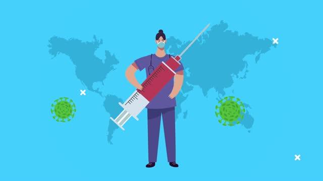 Chirurgin-mit-Impfstoff-und-covid19-Partikeln-auf-dem-Erdplaneten