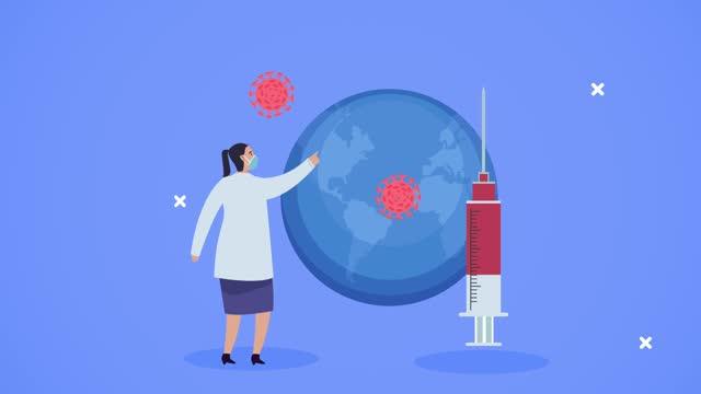 """Ã""""rztin-mit-Impfstoff-und-covid19-Partikeln-auf-dem-Erdplaneten"""