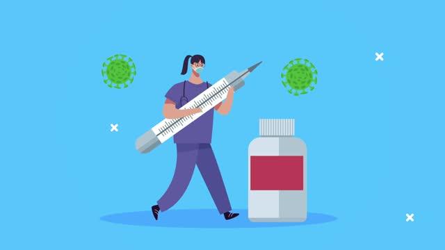 Chirurgin-mit-covid19-Impfstoffspritze-und-Durchstechflasche