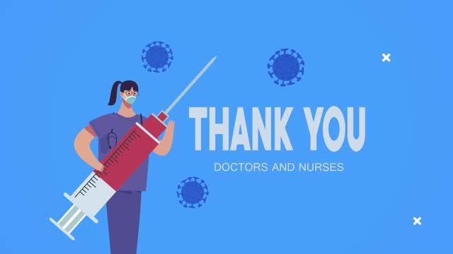 Dankeschön-Ärzte-und-Krankenschwestern-Schriftzug-mit-Chirurg-und-Impfstoff