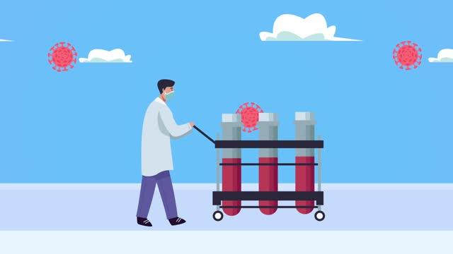 Arzt-mit-Fläschchen-und-covid19-Partikeln