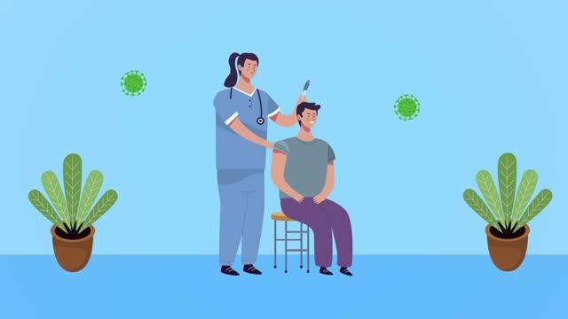 Krankenschwester-mit-covid19-Impfstoff-und-Patientin
