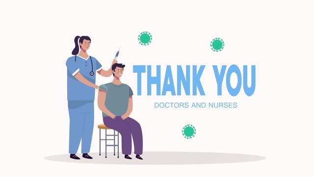 Dankeschön-Ärzte-und-Krankenschwestern-Schriftzug-mit-Krankenschwester-impfen-Patienten