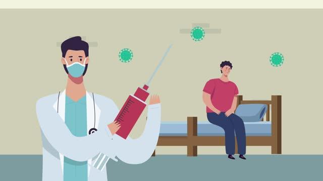 Berufsarzt-mit-Impfstoff-und-Patient-im-Schlafzimmer