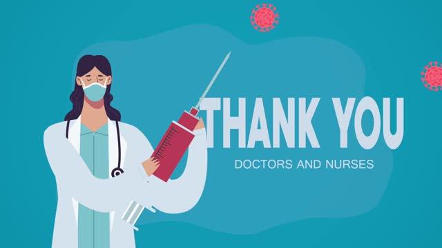 """Danke-Ã""""rzte-und-Krankenschwestern-Schriftzug-mit-Ã""""rztin-Heben-covid19-Impfstoff"""
