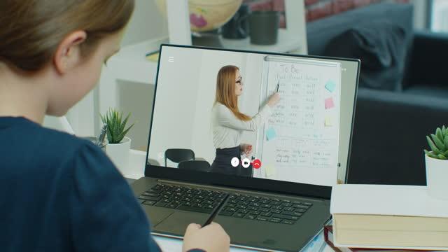 Zurück-hinten-Headshot-Ansicht-weibliche-Teenager-Student-lernen-Fremdsprache-mit-Tutor-Laptop-Bildschirm-Ansicht-junge-zuversichtliche-Lehrerin-in-Brillen-die-pädagogische-Vorlesung-zu-Teenager-Mädchen-online-