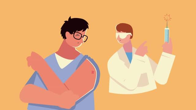 männlicher-Arzt-mit-Impfstoffspritze-und-Patient