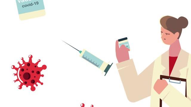 """Ã""""rztin-mit-Impfstoff-Durchstechflasche-und-Spritze"""