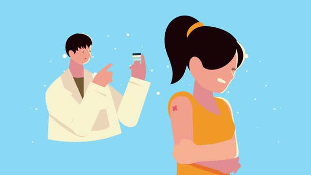 männlicher-Arzt-mit-Impfstoff-Durchstechflasche-und-patientin