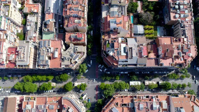 Aerial-top-view-of-Barcelona-Eixample-district-street-and-block-buildings