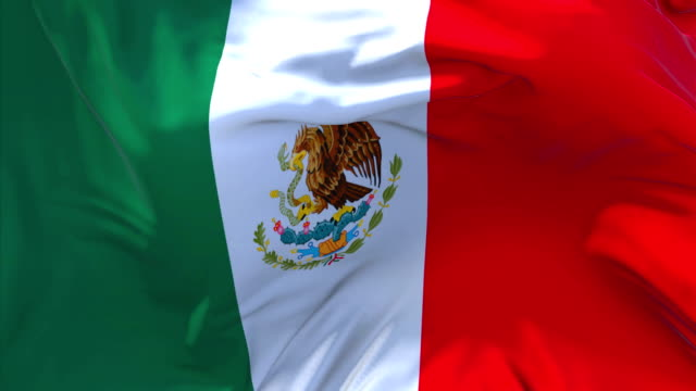 Mexico-Flag-Waving-in-Wind-Slow-Motion-Animation-4K-Realistic-Fabric-Texture-Flag-Smooth-Blowing-on-a-windy-day-Continuous-Seamless-Loop-Background-