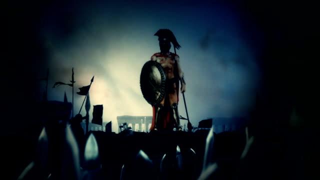 Spartan-Soldier-nach-einem-heroischen-Kampf-gegen-seine-gewaltige-Armee-unter-einem-Gewitter