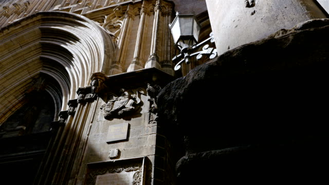 Low-angle-shot-of-a-catholic-cathedral-in-the-Gothic-quarter-of-Barcelona