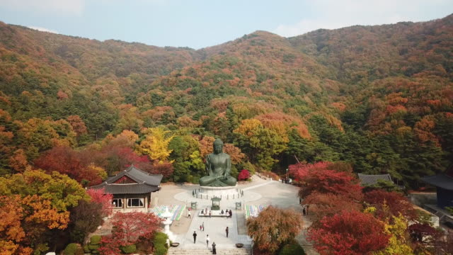 Aerial-view-autumn-of-Statue-of-Buddha-in-Temple-Seoul-Korea