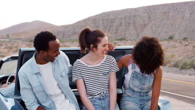 Glückliche-Freunde-auf-einem-Roadtrip-Pause-am-Straßenrand