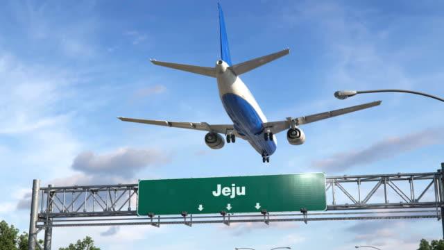 Flugzeug-Landung-Jeju
