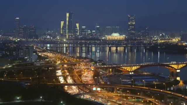 Seoul-Stadtbild-in-der-Dämmerung-Südkorea-