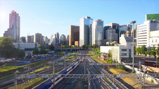 Tráfico-de-Corea-y-la-arquitectura-en-la-estación-de-ciudad-Seou-Seúl