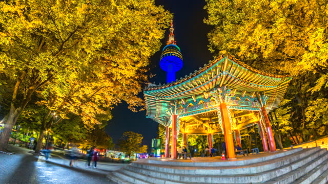 4K-Time-lapse-view-of-Seoul-Tower-in-autumn-at-Night-landmark-of-Seoul-city-South-Korea