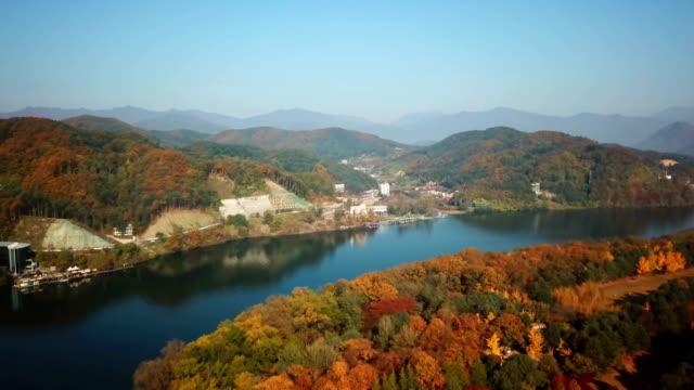 Aerial-view-autumn-of-Nami-island-South-Korea