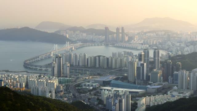 Busan-South-Korea-Panning-view-of-city-center-in-morning-lights-4K