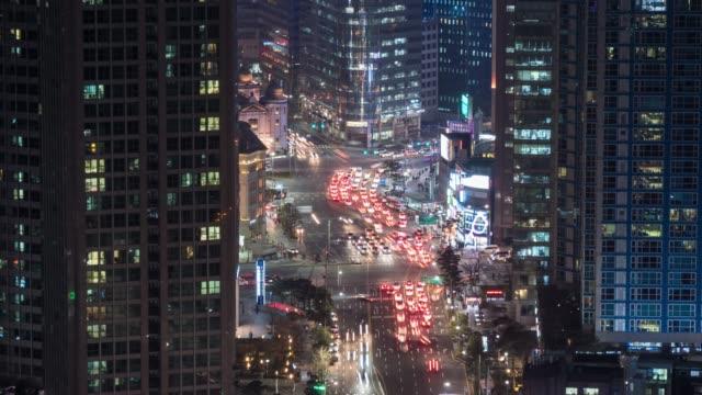 City-traffic-lights-at-night-time-Seoul-South-Korea-Time-lapse-4K-UHD