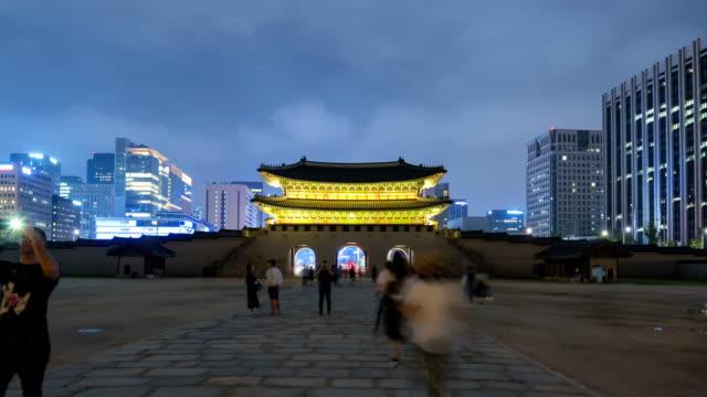 Time-lapse-of-Gyeongbokgung-palace-in-Seoul-South-Korea