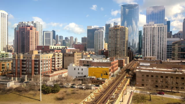 Lapso-de-tiempo-de-la-ciudad-de-Chicago-Lazo-del-oeste-barrio-Centro-de-la-ciudad-